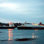 Loch Seaforth and Clipper Ranger meet at Stornoway 19 January 2015 (Mark Nicolson)