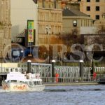Pride of the Clyde heading downriver with The Second Snark at Broomielaw pontoon (Charles McCrossan)