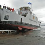 Hallaig hits the water for the first time (Roy Paterson)