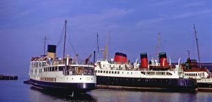 Queen Mary II with Claymore and King George V in the East India Harbour, Greenock, in the autumn of 1982 -- copyright photo CRSC Joe McKendrick Collection