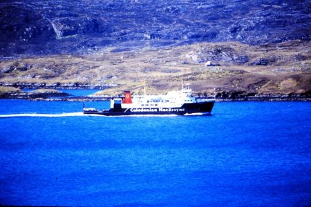 Hebridean Isles sailing towards Tarbert, Harris