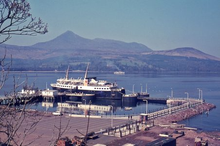 Caledonia and Waverley at Brodick Pier and Bay