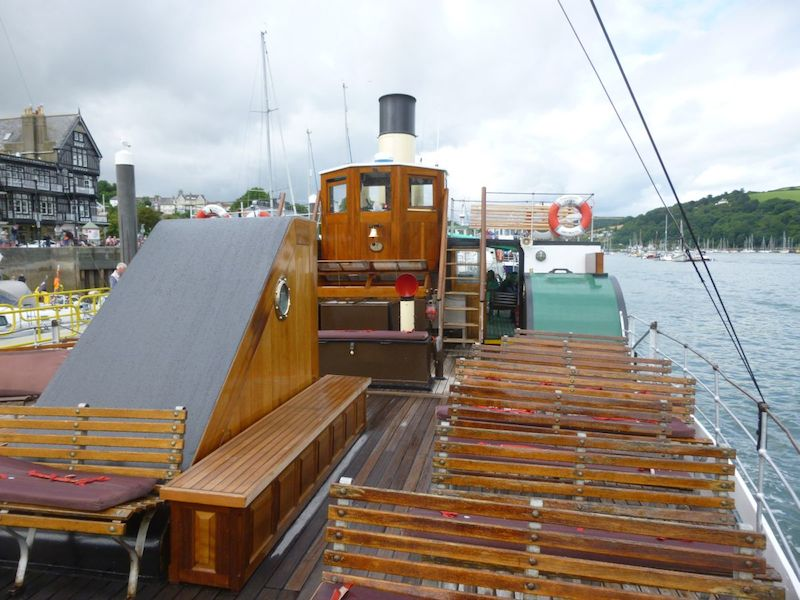 View aft from the foredeck of Kingswear Castle, showing the engine window in front of the wheelhouse -- copyright photo Robin Copland