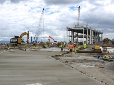 Laying concrete for the new bus stance area -- copyright Eric Schoield