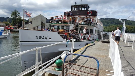 Swan at Bowness pier in September 2016 -- copyright Robin Copland