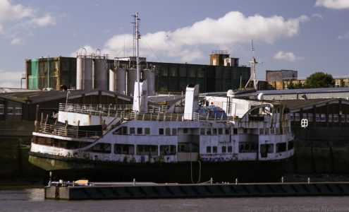 Denny-built former Mersey ferry Royal Iris, long since high and dry on the Thames -- copyright photo Charles McCrossan