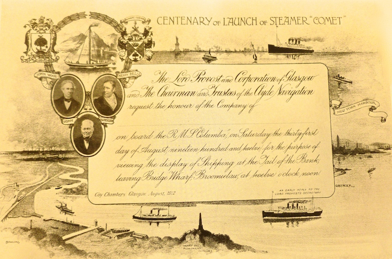 Comet centenary: the City of Glasgow Corporation's invitation card to join Columba's special downriver sailing in honour of the pioneering steamer -- copyright Colin Tucker Collection