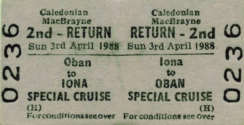 Ticket for the special voyage to Iona by Columba, on which Terry Primrose sailed