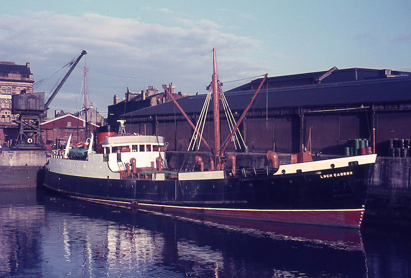 Sunnier days at Kingston Dock: Loch Carron at the south-east corner berth on 6 August 1964 -- copyright photo Eric Schofield