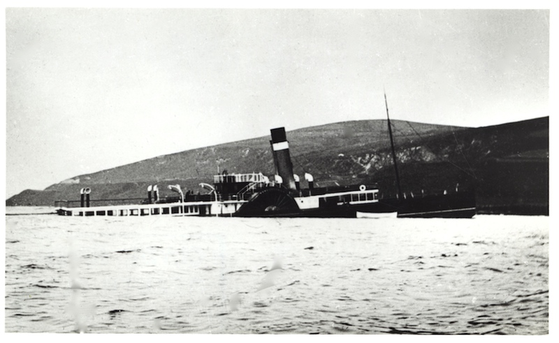Redgauntlet aground at Sliddery on the morning after her 'accident' in July 1899 -- copyright photo CRSC Archive Collection