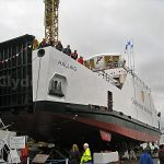 Cal Mac new ferry Hallaig ready for launch (Roy Paterson)