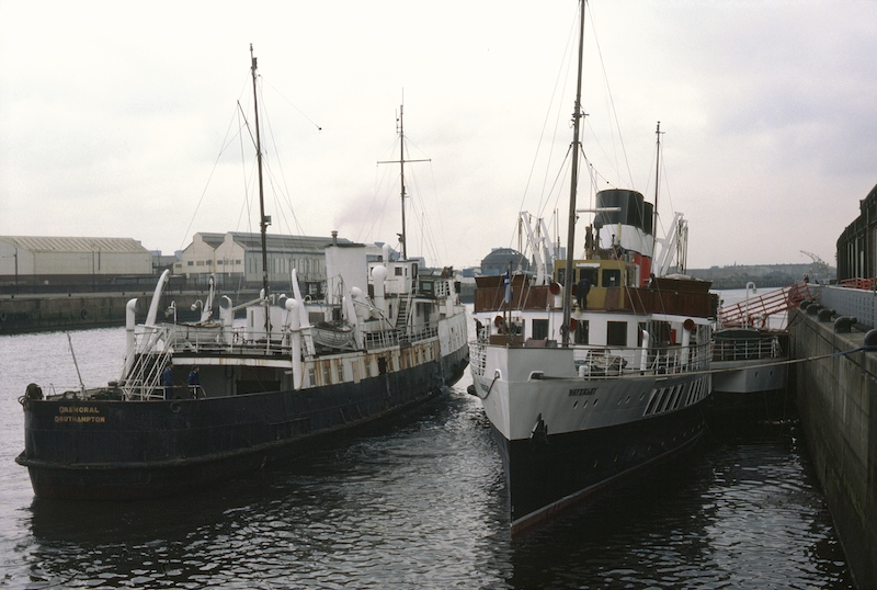 Close encounter: Balmoral, on the Clyde for the first time, berths alongside Waverley at Lancefield Quay, Glasgow, in April 1985