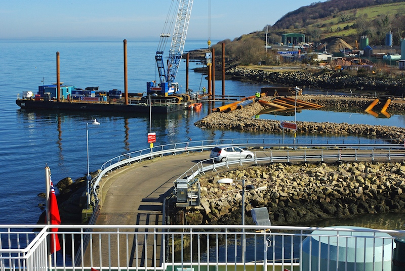 March 2016: start of pile-driving for the new harbour development -- copyright photo Eric Schofield
