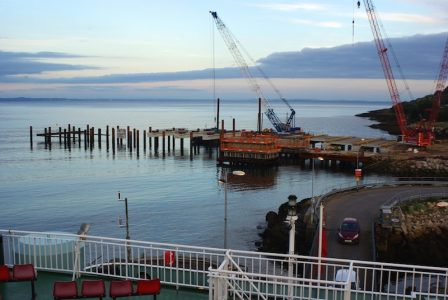 October 2016: inserting support structures for the new pier -- copyright Eric Schofield