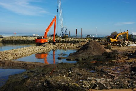 The lagoon inside the existing pier and linkspan is being reclaimed -- copyright Eric Schofield