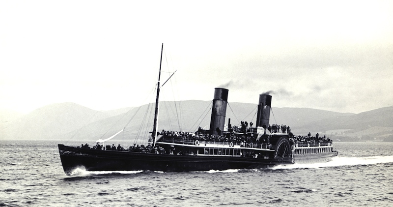 The Comet centenary cruise on Saturday 16 August 1912 was a notable deviation from Columbas routine of sailing daily except Sundays to Ardrishaig. Here she is pictured entering Rothesay Bay on 3 August 1903 -- copyright photo CRSC Archive Collection