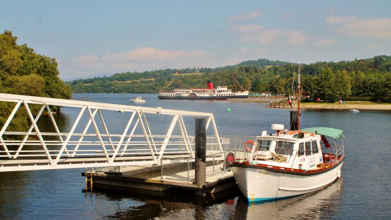 The lure of Loch Lomond: Fencer and Maid of the Loch at Balloch -- copyright photo Rob Beale