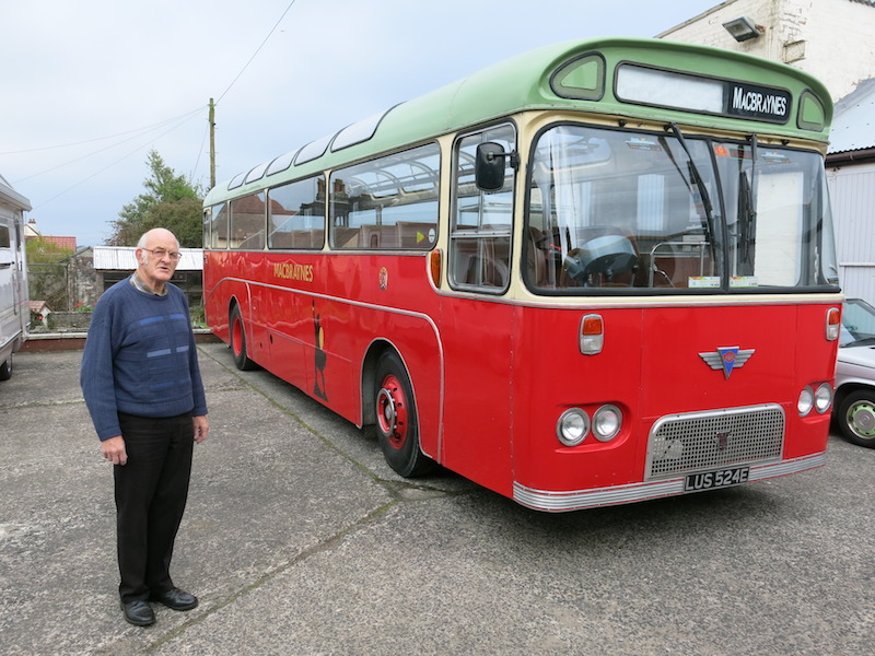 Lawrence Macduff with his vintage MacBrayne bus -- copyright photo CRSC