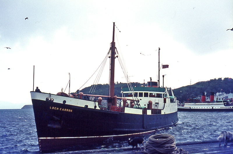 Loch Carron arrives at the Railway Pier, Oban, on 1 September 1970, with King George V at the North Pier -- copyright photo Eric Schofield