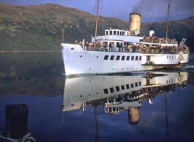Foretaste of the future? Maid of the Loch casts her reflection on the water near Tarbet, in a view from the 1960s -- copyright photo CRSC John Thomas Collection