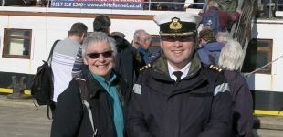 Barbara Craig with Captain David Howie at Campbeltown 21 September 2017 (Andrew Clark)